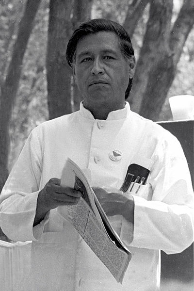 César Chávez at a United Farmworkers rally, 1974. photo Work Permit, retouced by Joel Levine via wikimedia commons