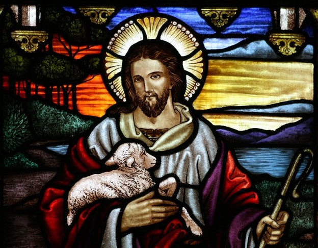 """Stained glass at St John the Baptist's Anglican Church [1], Ashfield, New South Wales. Illustrates Jesus' description of himself """"I am the Good Shepherd""""  Stained glass: Alfred Handel, d. 1946  photo:Toby Hudson via wikimedia commons"""