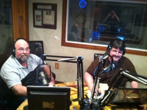 Mike Coston (left) joins Outbreak News This Week Radio Show host, Robert Herriman in the studio 3-29-14