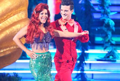 "Candace Cameron Bure and Mark Ballas performing to ""Under The Sea"" on ""Dancing With The Stars""   screenshot ABC"