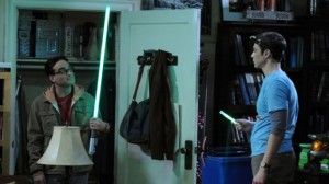 big_bang_theory leonard with lightsaber photo