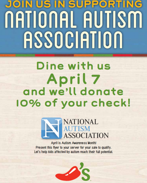 Chili's Bar and Grill National Autism Association flyer