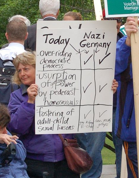 Anti-gay protest carrying sign making comparisons to Nazi Germany in 2007 photo/Tim Pierce via wikimedia commons