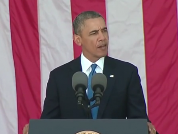 President Obama now turns his attention to ending the Cuba embargo  photo/Memorial Day speech in Arlington National Cemetery, 2014  photo/screenshot of video coverage