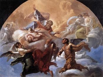 Satan Before The Lord painting by Corrado Giaqunto circa 1750