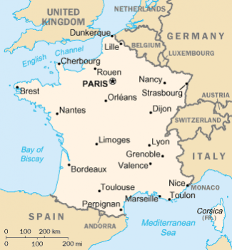 France map, Corsica in lower right hand corner/CIA