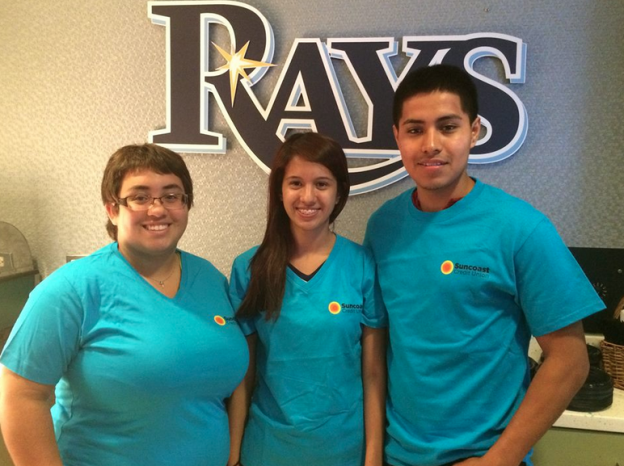 Monica Olvera (middle), Justice Alvarado (left) and Alan Garcia (right) Suncoast scholarship