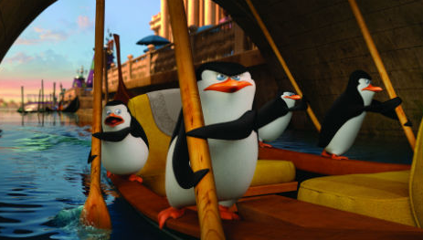 Penguins of Madagascar photo on raft