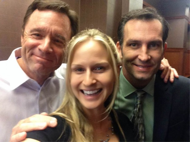 "Tom Clark, Jenn Gotzon, Kevin Sizemore on the ""Sinking Sand"" set photo/courtesy Jenn Gotzon"