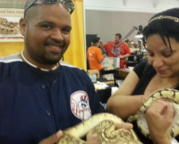 guest holding snakes Repticon 2014