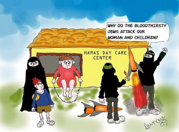 War again between Israel and Hamas? In 2014 Hamas was calling for civilians to remain even though Israel has warned of a strike  Cartoon by Barry Hunau