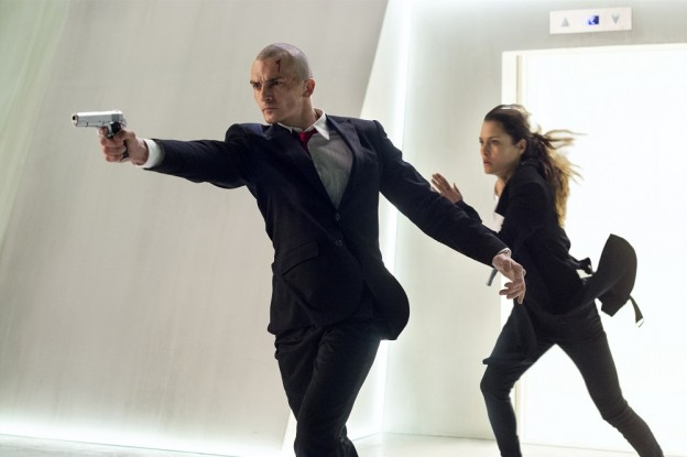 "Agent 47 (Rupert Friend) and Katia (Hannah Ware) are on the run in ""Hitman: Agent 47."""