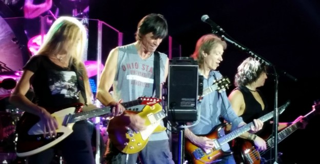 Boston Live in Concert Columbus Ohio: Left to Right - Kimberley Dahme Singer-Songwriter, Tom Scholz, Gary Pihl and Tracy Ferrie   photo/Jeanne Lieb