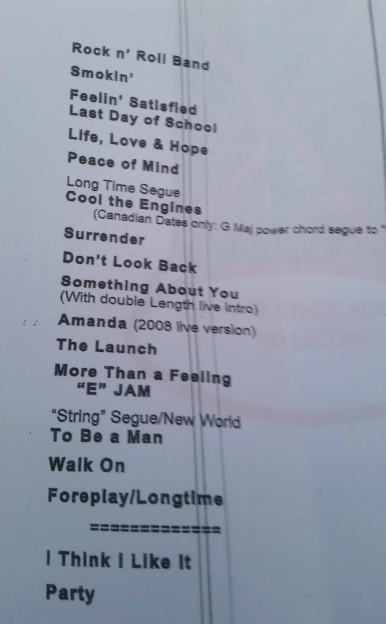Boston set list for Columbus Ohio concert  photo/Jeanne Lieb