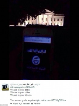 Islamic State flag in front of White House  photo taken in 2014, Twitter