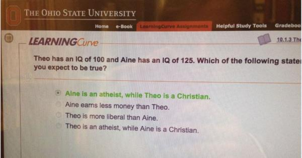 Ohio-State-Psych question atheist christian higher IQ