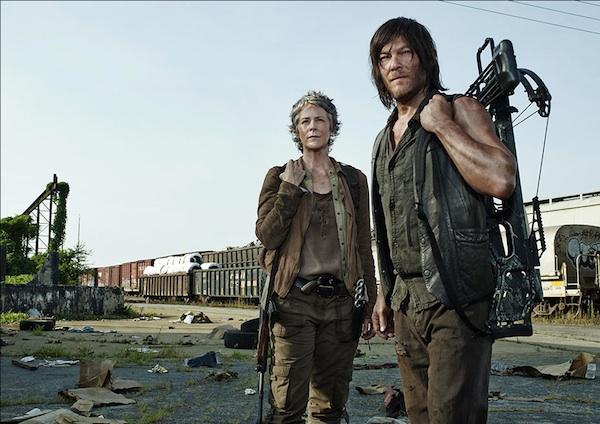 carol and Daryl Melissa McBride Norman Reedus walking dead season 5 photo