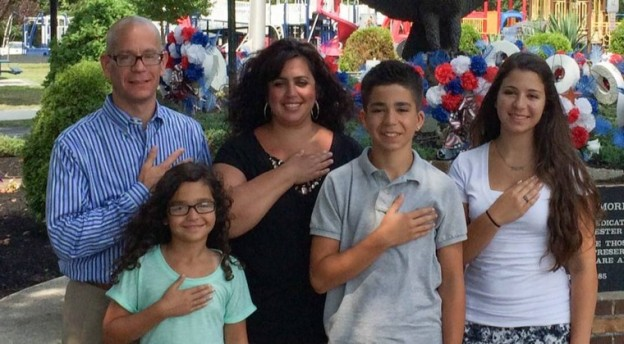 Samantha Jones and family - the New Jersey battle of the Pledge of Allegiance  photo/The Becket Fund for Religious Liberty