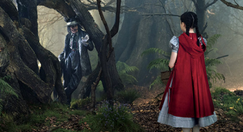 "Johnny Depp as The Wolf and Lilla Crawford as Little Red Riding Hood in ""Into the Woods"""