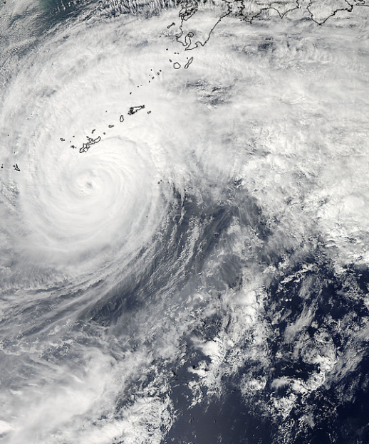 NASA's Aqua satellite passed over Typhoon Vongfong on Oct. 11 at 04:15 UTC (12:15 a.m. EDT) as it was approaching Japan's big islands.  Image Credit: NASA Goddard MODIS Rapid Response Team