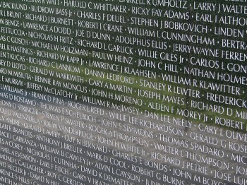 Names of Vietnam veterans at Vietnam Veterans Memorial in Washington, D.C.  photo Hu Totya via wikipedia