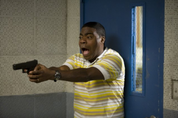 Tracy Morgan Cop Out photo screaming with a handgun