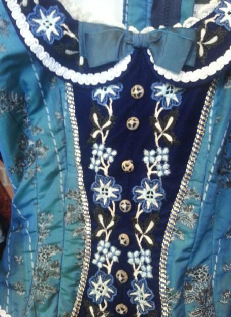 Closeup Phantom of the Opera blue costume dress