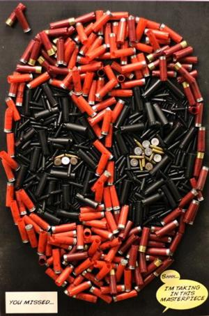 Deadpool photo made of bullets Ryan Reynolds twitter page