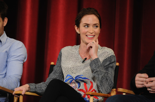 """Actress and cast member of Into the Woods Emily Blunt takes part in a Q&A following a screening of the film at the DGA Theater in which film fans had an opportunity to engage in a live question and answer discussion on the film """"Into The Woods""""   (Photo by Bryan Bedder/Getty Images for Walt Disney Studios)"""