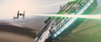 star-wars-the-force-awakens-millenium falcon battles tie fighters