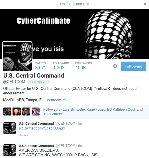 CENTCOM-hacked-by ISIS Cyber caliphate