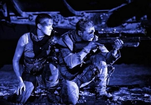 Charlize Theron Tom Hardy Mad Max Fury Road with gun scene