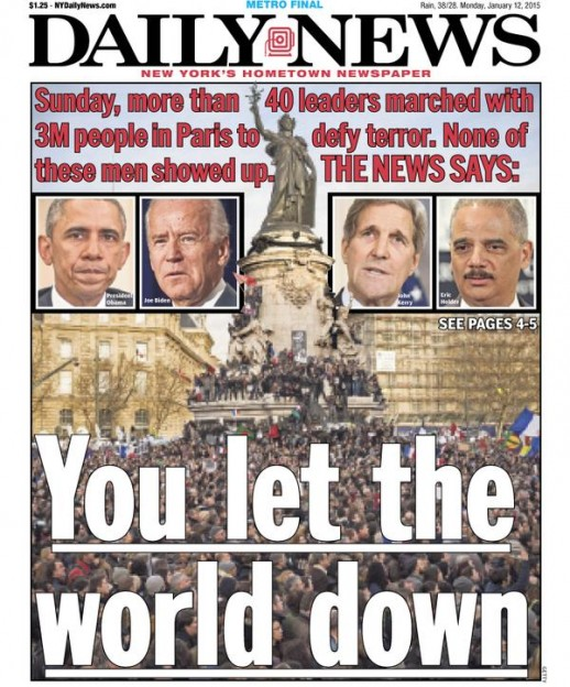 headline criticizing Obama administration for Paris march