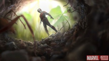 Ant-man pic staring down hole with ants
