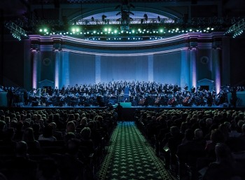 "Sir Gilbert Levine conducts the concert ""Peace Through Music 'In Our Age'""  at DAR Constitution Hall in Washington, D.C., on May 5, 2014 Photo credit: Georgetown University"