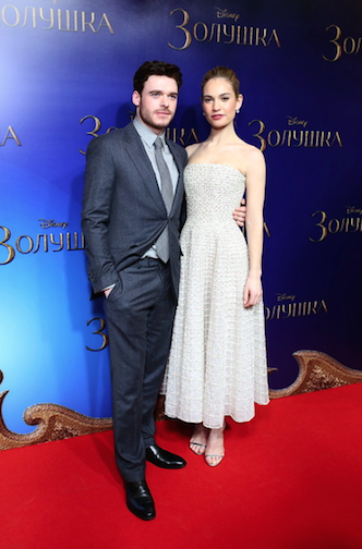 "Richard Madden, Lily James at ""Cinderella"" screening Moscow, photo Getty Images"