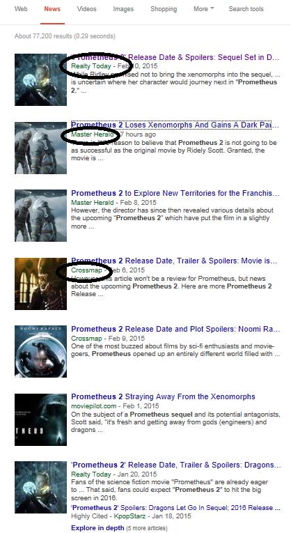 Google News result for Prometheus 2 news