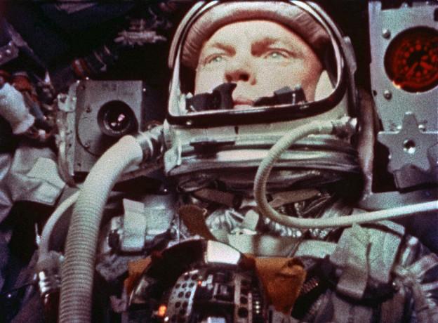 "A camera aboard the ""Friendship 7"" Mercury spacecraft photographs Astronaut John H. Glenn Jr. during the Mercury-Atlas 6 spaceflight   photo NASA, 1962"