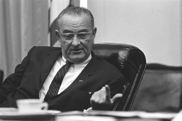President Lyndon B. Johnson, National Security meeting on Vietnam in the Cabinet Room of the White House. dated July 21, 1965  photo/ Yoichi R. Okamoto