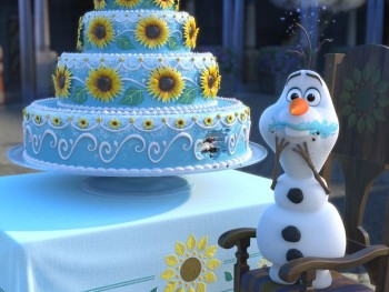 Olaf eating cake in Frozen Fever