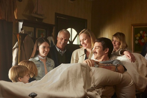 (L to R:) Hudson Meek (Chris Piper), Bobby Baston (Joe Piper), Elizabeth Hunter (Nicole Piper), David Clyde Carr (Eva's Dad), Kate Bosworth (Eva Piper), Hayden Christensen (Don Piper) and Catherine Carlen (Eva's Mom), welcome Don home from his 13-month hospital stay in a scene from 90 MINUTES IN HEAVEN, from Giving Films, LLC. Based on the inspiring best-selling book of the same name, 90 MINUTES IN HEAVEN tells Don's incredible and true story, and opens in theaters nationwide this fall. (Photo credit: Quantrell Colbert)