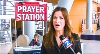 "A battle over a prayer station in a Michigan city hall will result in an atheist ""Reason Station"" being added  photo/ screenshot of Channel 2 coverage"