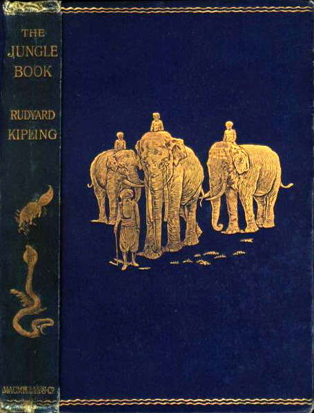 Scanned image of the cover of the first edition of The Jungle Book by Rudyard Kipling (1865-18th January 1936), illustrated by John Lockwood Kipling (1837-1911)
