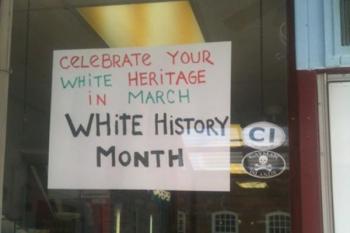 White History Month sign NJ deli