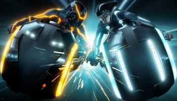 tron-legacy light cycles crash into each other