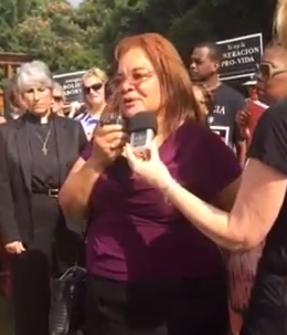 Alveda King protesting abortion clinic in Selma  photo/ screenshot of YouTube clip