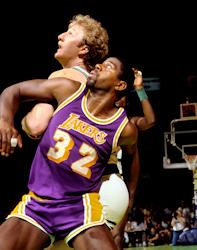 Los Angeles Lakers Magic Johnson and Boston Celtics Larry Bird in Game two of the 1985 NBA Finals at Boston Garden  photo/ Steve Lipofsky,  www.Basketballphoto.com