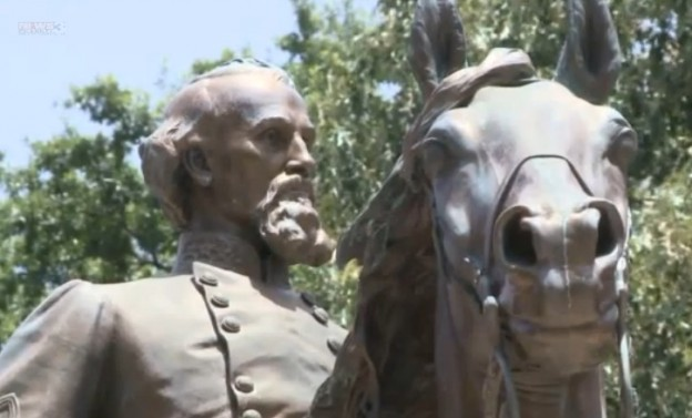 Statue of General Nathan Bedford Forrest will be removed and his remains may be dug up  photo/ screenshot of WREG coverage