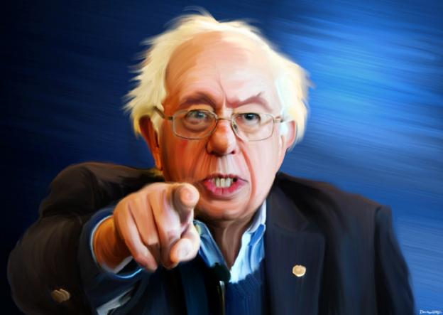 Bernie Sanders pointing donkeyhotey