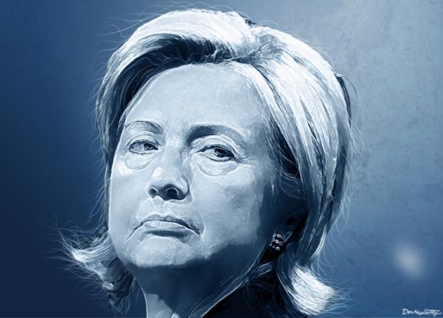 Hillary Clinton serious face blue tint donkey hotey